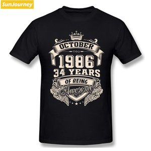 Born In October 1986 34 Years Of Being Awesome Men Tshirt Plus Size Cotton Crewneck Custom Short Sleeve Funny T-shirts