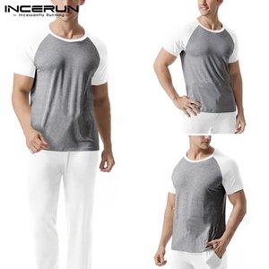 INCERUN Men Soft Sets Casual Workout Soft Bodybuilding Sets Short Sleeve Patchwork T Shirts Long Pants Homewear Suits 2 Pieces