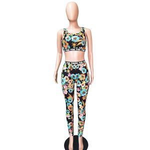 New Women Sports Suit Letters Floral Print Vest Bra Tank Pants Swimsuit 2 Piece Clothing Set Brand Outfits Tankinis Swimwear Tracksuit D6815