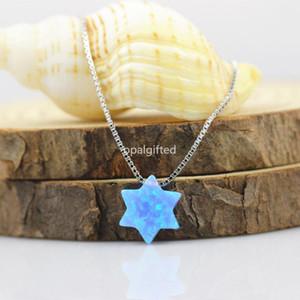 (1pc / lot) OP06 Lumière Blue Star Opal Collier 10 mm David Collier avec pendentif étoile argent 925 sterling david d'opale