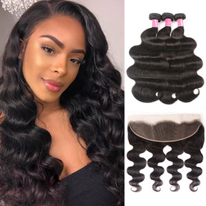 100% Brazilian Body Wave Human Hair 3 Bundles With Frontal Closure 13*4 Pre Plucked Lace Frontal Closure Remy