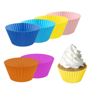 Оптовая Красочные круглые силиконовые торт Формы для выпечки Кекс выпекание Maker Лайнеры Tray Tools Пирожные 2020 Горячий продавать 7см Кубок Маффин