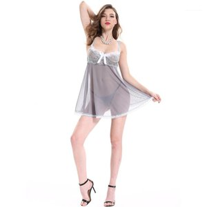 Gaze Sexy Pyjama manches Voir au travers dames Sous-vêtements Femmes Casual Slip Dress Plus Size