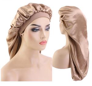 65CM Extra Long imitare raso Bonnet sonno Cap lungo cofano per Trecce donne calde di colore puro stampato Silky capelli sciolti Cap all'ingrosso C340