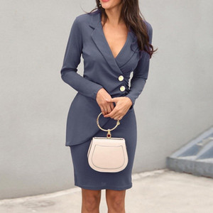 20s Women's Dress Suit Lapel Long Sleeve Button Work Dress Designer Formal Work Skirt Women's Hip Skirt Female Growth Thin Section Sle