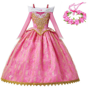 YOFEEL 화려한 파티 오로라 공주 드레스 여자 잠자는 숲속의 미녀 의상 키즈 핑크 볼 가운 크리스마스 생일 공주 의상