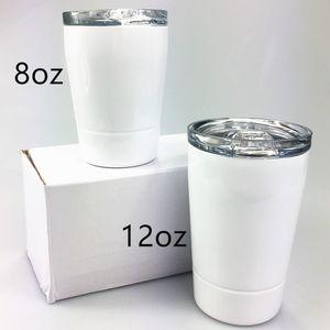 8 oz sublimación Kid vaso con tapa recta botella Vaso de acero inoxidable de doble pared con aislamiento bebé taza del viaje de la nueva llegada