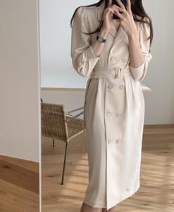 Женщины моды пальто Длинного Кардиган весна осень Belted Твердых Длинные пальто Повседневной Элегантная Верхняя одежда Thin плащи