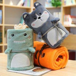 Childrens Dinossauro Blanket Rolo Bebê Blanket Escritório Nap Blanket Coral velo Animal dos desenhos animados Ar Condicionado Adicionar Box L