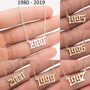 Custom Birth Year Number Necklaces Stainless Steel Personalized Women Initial Pendant Necklace Mens Special Birthday Jewelry Gifts 1980-2019