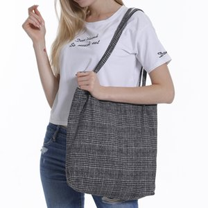 ABER Automne Hiver Femmes Woollen Sac à bandoulière en toile Mesdames Vintage Plaid Sac à main Totes Femme Coton Laine Tissu commercial BagsAutumn Wint