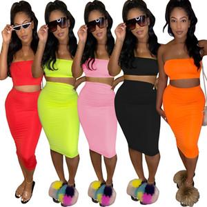بلون إمرأة 2 الكرات الثابتة فستان عارضة أنبوب الرياضية + تنورة اثنين من قطعة مجموعة الصيف ملابس النساء S-XXL D126