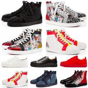 Di alta qualità del cuoio genuino scarpe Mens Red Bottoms Spike piattaforma amore del partito dei pattini casuali di lusso di marca camoscio Graffiti formatori Sneakers