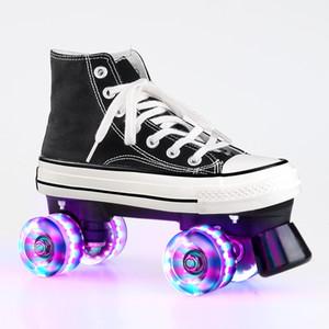 Professionnel adulte Quad Skates double rangée patin à roulettes unisexe chaussures de toile pour Lovers deux lignes clignotant Roues Patines