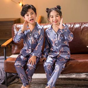 Conjuntos de seda dormir pijamas Set Boys Gril pijamas de los niños del invierno del otoño de los niños de manga larga para Niños ropa de dormir Set