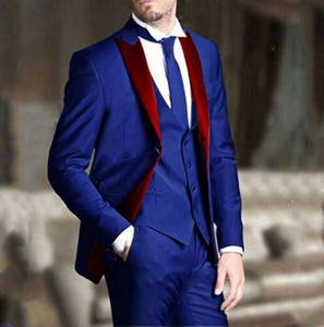 Royal Blue Men Tuxedos Groom Wedding Suits Red Notched Lapel Best Man Wear Slim Fit Prom Party Blazer Long (Jacket+Vest+Pants)