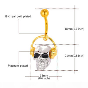 Gothic Body Jewelry Skeleton Belly Button Rings Women Platinum 18K Real Gold Plated Navel Piercing Rings