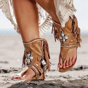 Богемия лето Женщины Сандал Этнический стиль кисточки Ботильоны Сандал Чистка Ladies Рим Thong Гладиатор Flat Sandals xQVn #