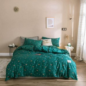 Luxury Dark Green Trees INS Bedding Sets Twin Queen King Flat Sheet Fitted Sheet High Count Cotton Bedlinens Duvet Cover Set