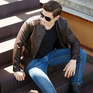 الرجال سترة جلدية 2019 الجديدة الدائمة الياقة سترة جلدية للرجال سليم معطف للمعطف عصري a2k2 #