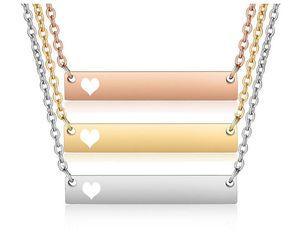 Titanium Steel One-word Cross Bar Necklace DIY Handmade Sequins Stainless Steel BAR Strip Pendant Necklace for Female Men