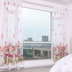 Purple Flower Tulle Curtains for Living Room Bedroom Kitchen Sheer Window Treatment Modern Short Curtain Panel