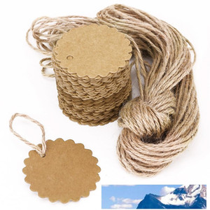 100pcs 60mm Round Scalloped Kraft Paper Card   Gift Tag   DIY Tag Hang Tag Label Ear Stud Hooks Cardboard Price Tags
