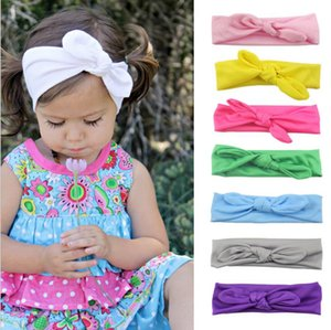 Baby Headband Rabbit Ear Hairbands Solid Knot Bow Turbans Elastic Head Wraps Baby Hair Accessories 12 Colors DW4956