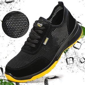 Chaussures de sécurité respirante Mesh été des hommes légers résistant à l'usure en acier Embout de protection Chaussures de plein air Formation Hommes