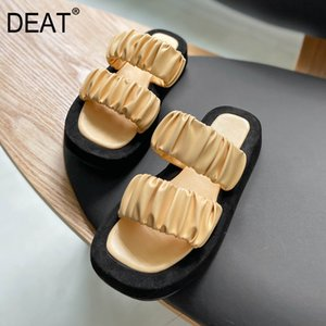 [DEAT] 2020 New Spring Summer Square Toe Shallow Pu Leather Pleated Casual Platform Slippers Women Shoes Fashion Tide 10I712