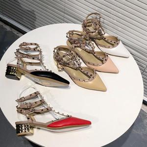 2020 hot designer women's patent leather rivet 4cm high heels matt 5 color electroplating fashion women's wedding shoes Eu35-42