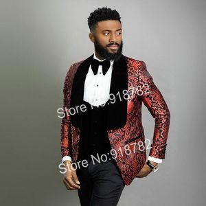 Handsome One Button Groomsmen Shawl Lapel Groom Tuxedos Men Suits Wedding Prom Dinner Best Man Blazer(Jacket+Pants+Tie+Vest) W225