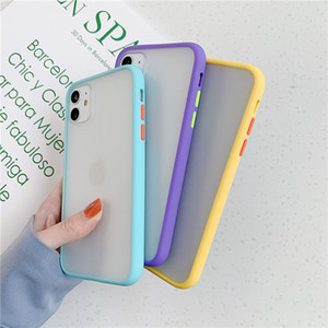 Для iPhone 12 11PRO XR XS Max 8 7 6 Plus Candy Color Color Ambose Armor Phone Case Matted Hard Back Cover