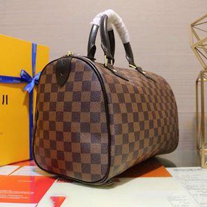 Bolso de alta calidad sin tirantes bolso de la almohadilla de hardware bolso Speedy mango de cuero bolsas de viaje Birkin Bolsa M41526 Tamaño 30Cmx21cmx17cm