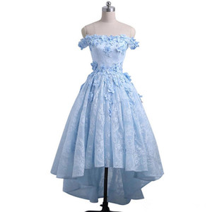 2020 High Low Prom Dress Baby Blue Off the Shoulder Asymmetrical Prom Dresses 3d Floral Appliques Zipper up Evening Party Gowns