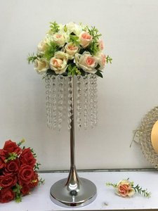 Wedding party flower display holder Sparkling crystal Acrylic Flower Vase crafts decor Floral Stand Columns For wedding Table Centerpiece