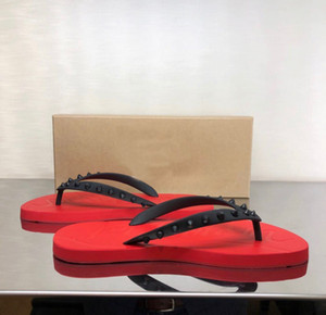 Fashion Summer Boy's Beach Sandals Sandalias Diapositivas Pisos Picos Red Bottom Loubis Flip Flip Flip Flobs Slipper Top Designer Hombres al aire libre Diapositivas