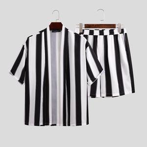 INCERUN Mens rayó sistemas ocasionales de la blusa de manga corta de la rebeca de los cortocircuitos ocasionales Siuts verano floja y transpirable 2 piezas de S-5XL