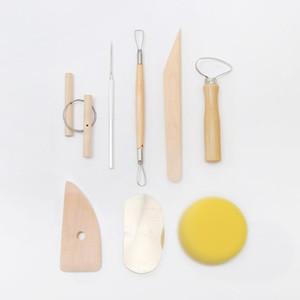 DIY Pottery Ferramenta 8pcs Set moldagem de barro cerâmico Ferramentas de madeira da faca Sponge Cerâmica Ferramenta Escultura Modeling Kit Handwork Suprimentos DHE351