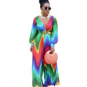 Colorful Chiffon Summer Womens Dresses Casual Slim Floral V Neck Womens Designer Maxi Dresses Long Sleeve With Belt Summer Womens Dress