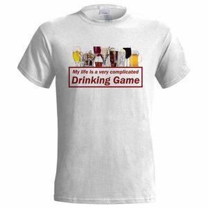 MY LIFE IS A الشرب معقدة GAME رجل T-shirt FUNNY الكحول البيرة STAG الشارع الشهير مضحك تي شيرت