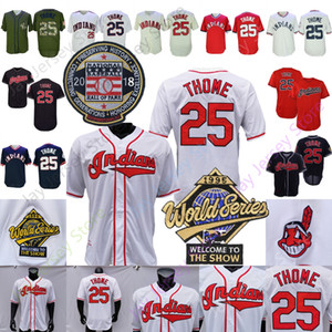Jim Thome Jersey 2018 Baseball Hall Of Fame 1995 WS-Patch Messen Home Away Pullover Button-Down-Rot, Weiß, Grau