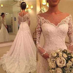 Long Sleeves A Line Wedding Dress Lace Appliques Long Dresses Court Train Bridal Gown Formal Plus Size Vestido De Noiva 2020