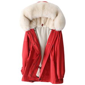 Luxury Winter Parka Coat Jacket Fur Hoody Rex Lining Women Warm Outerwear Coats LF2104