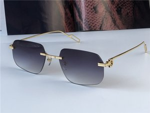 Neue Mode Großhandel Sonnenbrille 0113 Kleine Ultraleicht Unregelmäßige rahmenlose Retro Avantgarde Design UV400 Lichtfarbene Linsen UV400 Eyewear