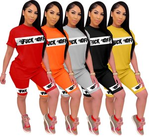 Womens Letter Outfits Short Sleeve 2 Piece Set Tracksuit Jogging Sportsuit Shirt Shorts Outfits Sweatshirt Pants Sport Suit Hot Selling