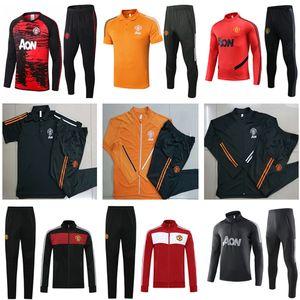 2020 2021 Pogba Birleşik Futbol eşofman koşu 20 21 manchester eğitim takım elbise erkek MARTIAL RASHFORD futbol ceket spor mavi ayak