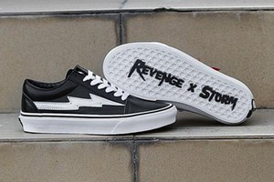 2018 Wholesale NEW Revenge x Storm Sneakers Pop up Store Top Quality Old SKool Off Fashion Grid Mens Ins Canvas Shoes