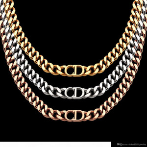 luxury designer jewelry women necklaces rose Gold Thick Chains necklaces with CD stainless steel bracelet and necklace suit fashion link