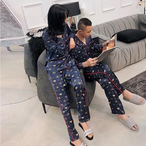 Seksi Tatlı Arı Çiftler Pijama Pijama Setleri Kadın Ve Erkekler Bahar Kore Buz Ipek Kaliteli Uzun Kollu Kadın Pijama Sıcak Satış Y200713